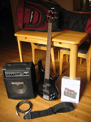 Ibanez GSR200 4-string bass and accessories