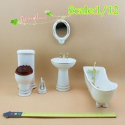 1/12 Dollhouse Miniature Toilet Bathroom Set Furnishings Bathtub Basin